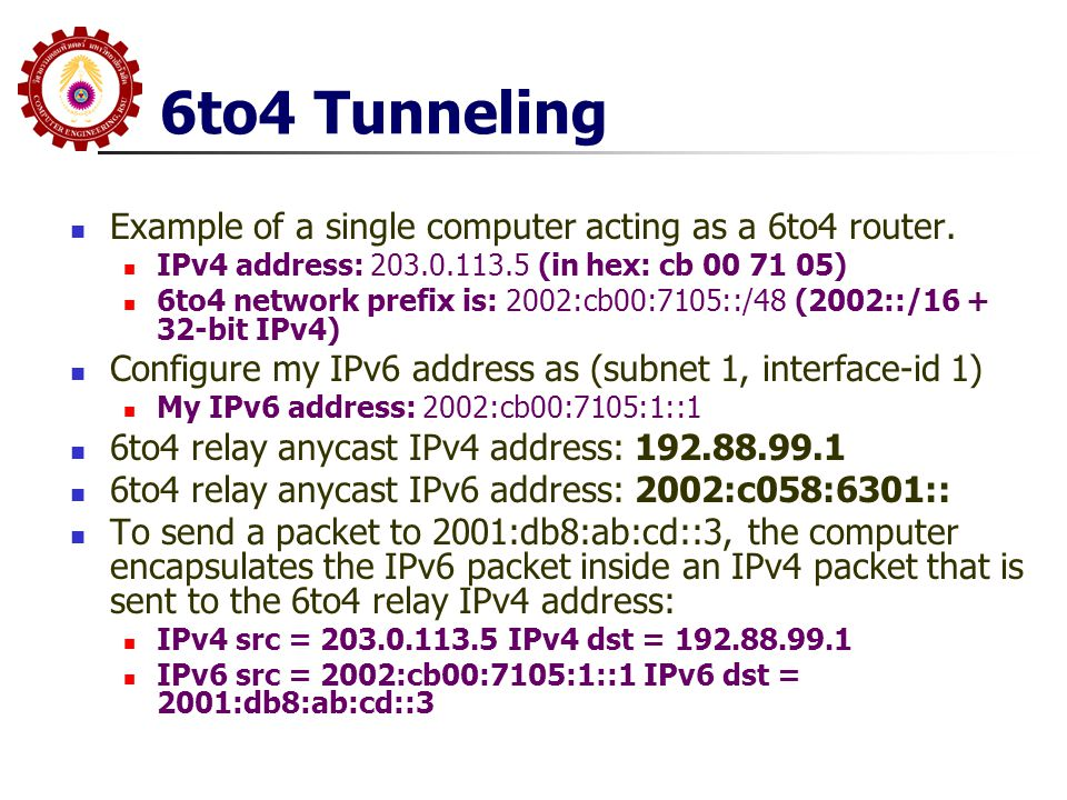 Example of a single computer acting as a 6to4 router. IPv4 address: 203.0.113.5 (in hex: cb 00 71 05) 6to4 network prefix is: 2002:cb00:7105::/48 (200