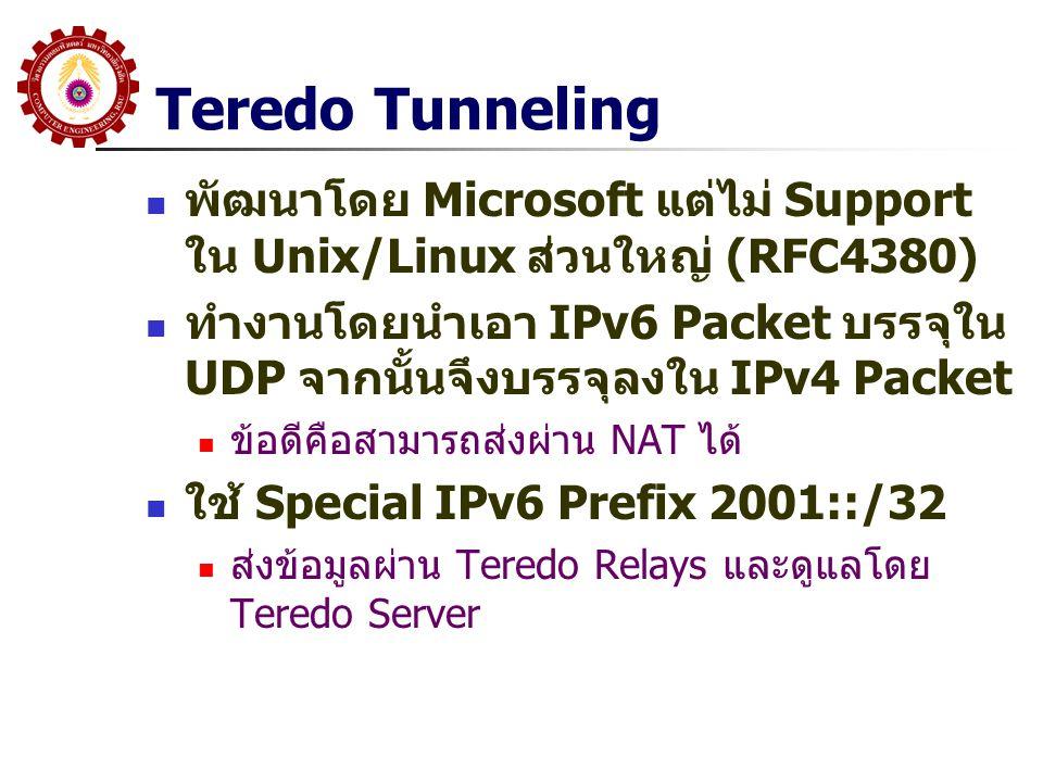 Teredo Tunneling พัฒนาโดย Microsoft แต่ไม่ Support ใน Unix/Linux ส่วนใหญ่ (RFC4380) ทำงานโดยนำเอา IPv6 Packet บรรจุใน UDP จากนั้นจึงบรรจุลงใน IPv4 Pac