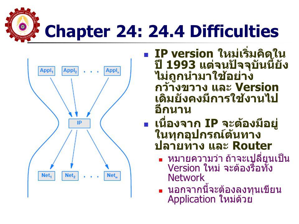 Chapter 24: 24.4 Difficulties IP version ใหม่เริ่มคิดใน ปี 1993 แต่จนปัจจุบันนี้ยัง ไม่ถูกนำมาใช้อย่าง กว้างขวาง และ Version เดิมยังคงมีการใช้งานไป อี