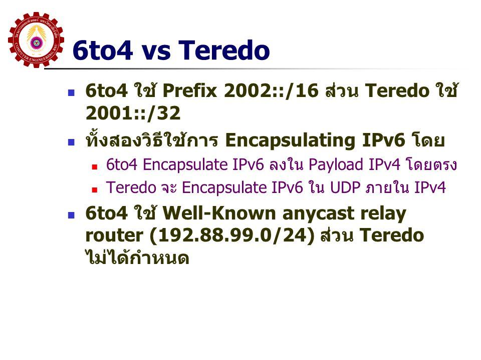 6to4 vs Teredo 6to4 ใช้ Prefix 2002::/16 ส่วน Teredo ใช้ 2001::/32 ทั้งสองวิธีใช้การ Encapsulating IPv6 โดย 6to4 Encapsulate IPv6 ลงใน Payload IPv4 โด
