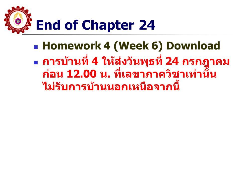 End of Chapter 24 Homework 4 (Week 6) Download การบ้านที่ 4 ให้ส่งวันพุธที่ 24 กรกฎาคม ก่อน 12.00 น. ที่เลขาภาควิชาเท่านั้น ไม่รับการบ้านนอกเหนือจากนี