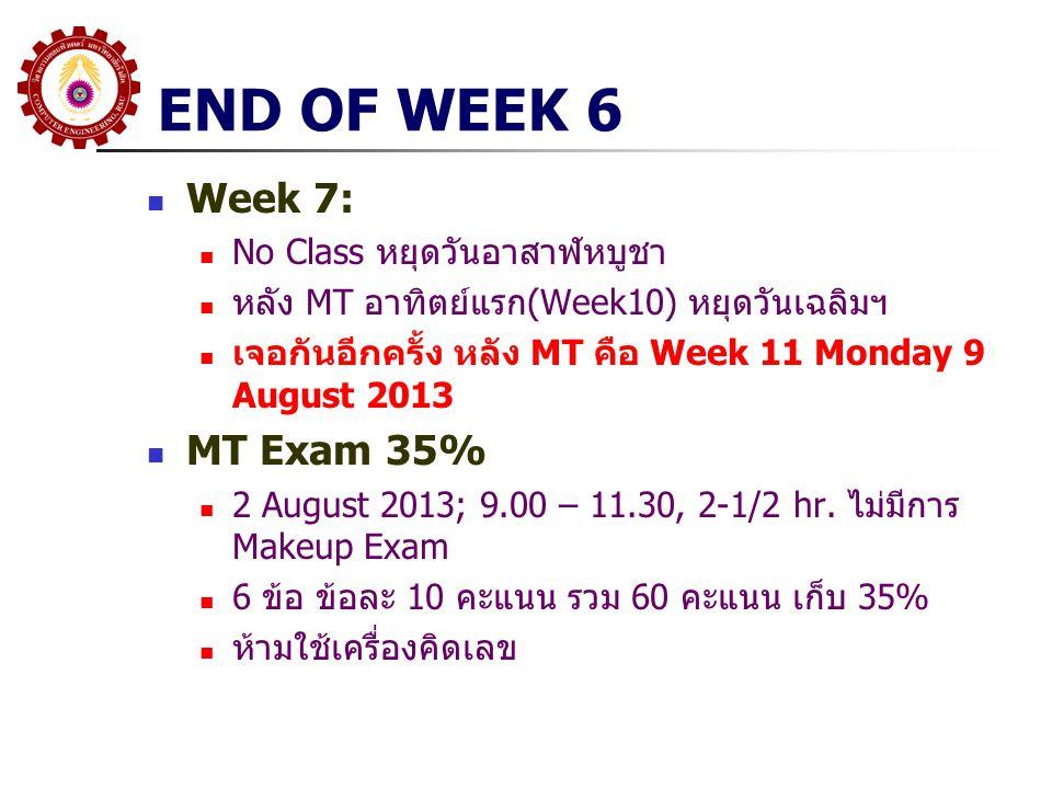END OF WEEK 6 Week 7: No Class หยุดวันอาสาฬหบูชา หลัง MT อาทิตย์แรก(Week10) หยุดวันเฉลิมฯ เจอกันอีกครั้ง หลัง MT คือ Week 11 Monday 9 August 2013 MT E