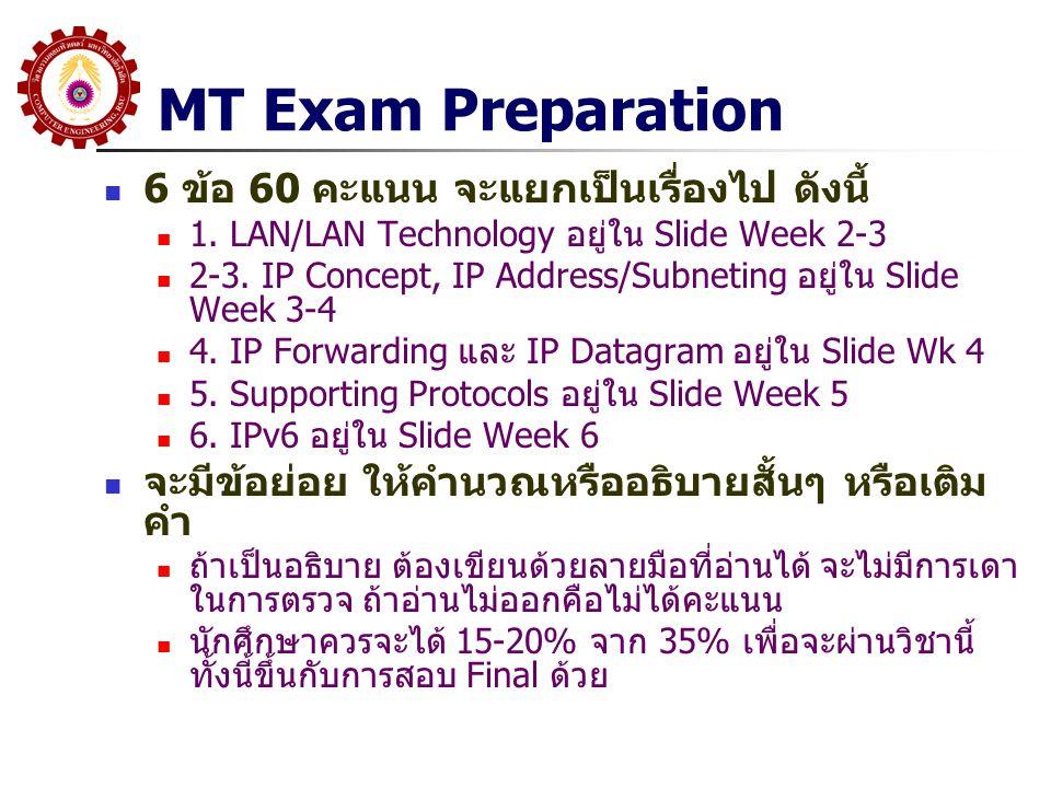 MT Exam Preparation 6 ข้อ 60 คะแนน จะแยกเป็นเรื่องไป ดังนี้ 1. LAN/LAN Technology อยู่ใน Slide Week 2-3 2-3. IP Concept, IP Address/Subneting อยู่ใน S