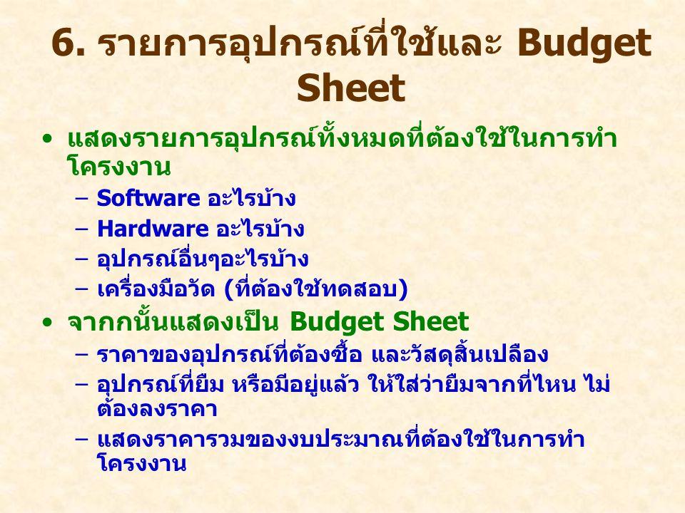 6. รายการอุปกรณ์ที่ใช้และ Budget Sheet แสดงรายการอุปกรณ์ทั้งหมดที่ต้องใช้ในการทำ โครงงาน –Software อะไรบ้าง –Hardware อะไรบ้าง –อุปกรณ์อื่นๆอะไรบ้าง –