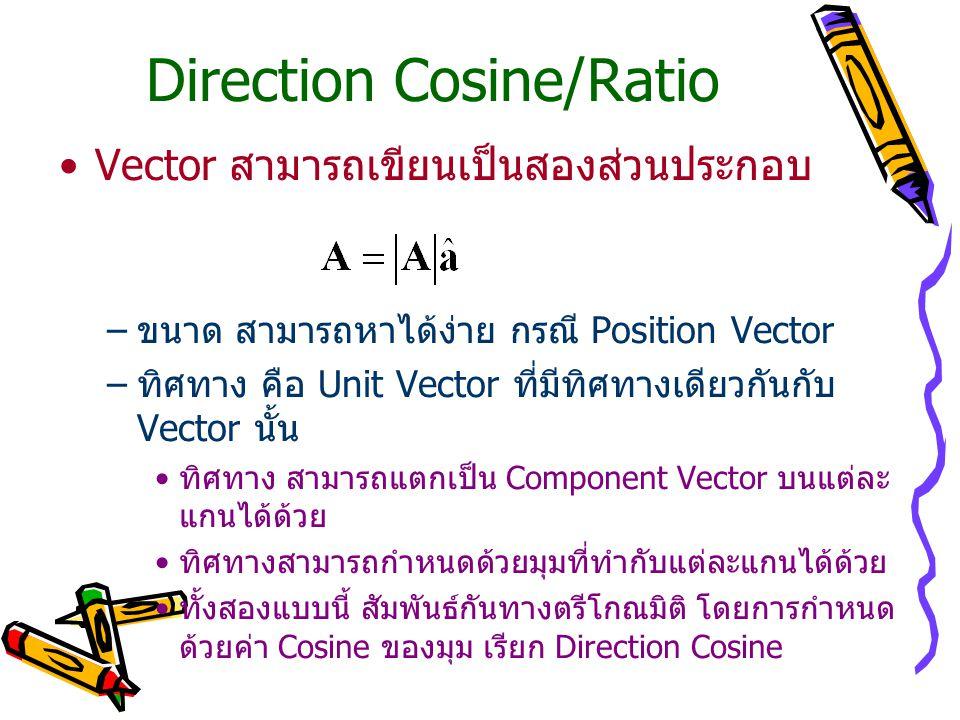 Direction Cosine/Ratio Vector สามารถเขียนเป็นสองส่วนประกอบ –ขนาด สามารถหาได้ง่าย กรณี Position Vector –ทิศทาง คือ Unit Vector ที่มีทิศทางเดียวกันกับ V