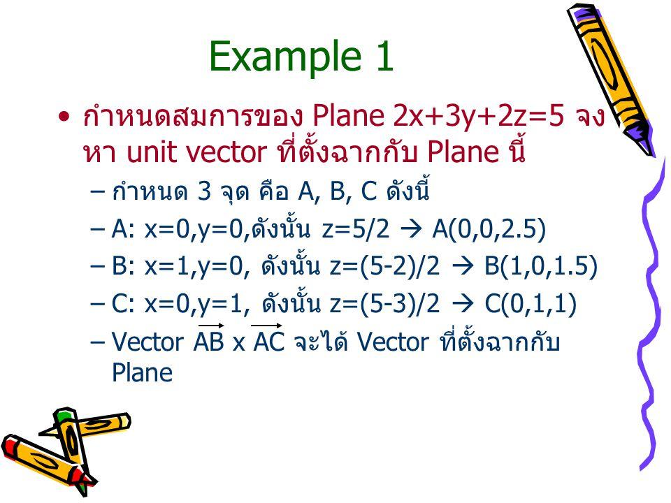 Example 1 กำหนดสมการของ Plane 2x+3y+2z=5 จง หา unit vector ที่ตั้งฉากกับ Plane นี้ –กำหนด 3 จุด คือ A, B, C ดังนี้ –A: x=0,y=0,ดังนั้น z=5/2  A(0,0,2