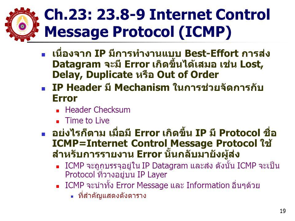 19 Ch.23: 23.8-9 Internet Control Message Protocol (ICMP) เนื่องจาก IP มีการทำงานแบบ Best-Effort การส่ง Datagram จะมี Error เกิดขึ้นได้เสมอ เช่น Lost, Delay, Duplicate หรือ Out of Order IP Header มี Mechanism ในการช่วยจัดการกับ Error Header Checksum Time to Live อย่งไรก็ตาม เมื่อมี Error เกิดขึ้น IP มี Protocol ชื่อ ICMP=Internet Control Message Protocol ใช้ สำหรับการรายงาน Error นั้นกลับมายังผู้ส่ง ICMP จะถูกบรรจุอยู่ใน IP Datagram และส่ง ดังนั้น ICMP จะเป็น Protocol ที่วางอยู่บน IP Layer ICMP จะนำทั้ง Error Message และ Information อื่นๆด้วย ที่สำคัญแสดงดังตาราง