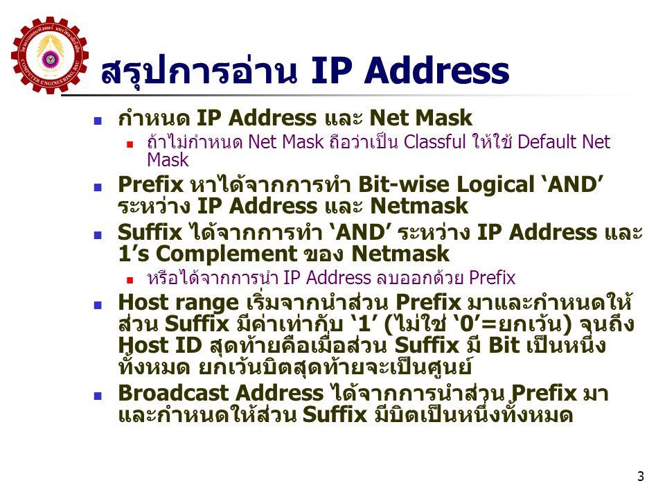 3 สรุปการอ่าน IP Address กำหนด IP Address และ Net Mask ถ้าไม่กำหนด Net Mask ถือว่าเป็น Classful ให้ใช้ Default Net Mask Prefix หาได้จากการทำ Bit-wise