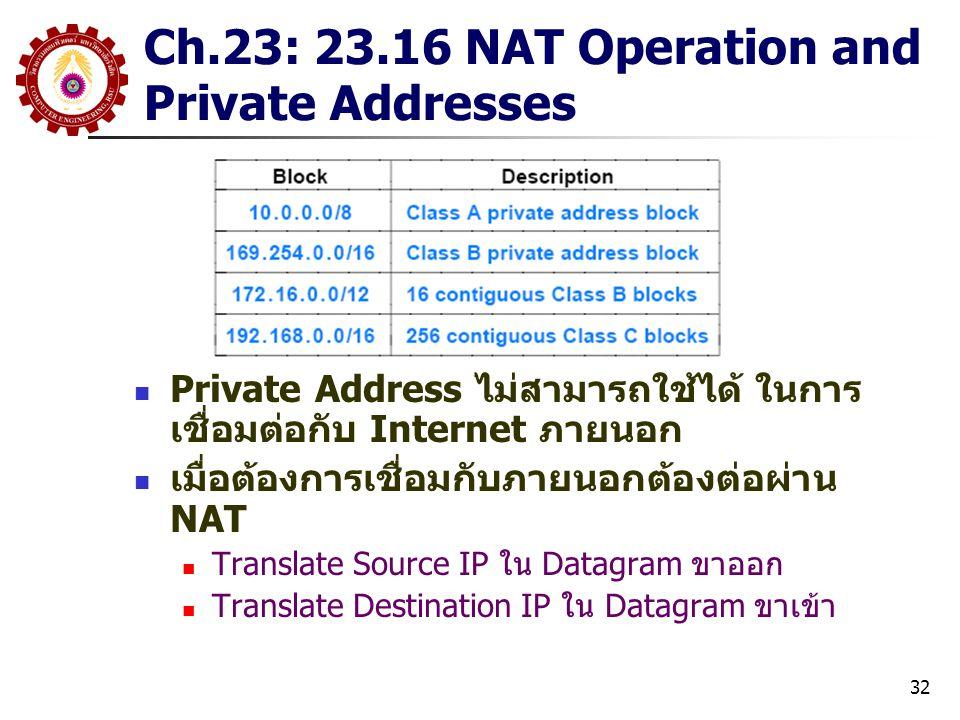 32 Ch.23: 23.16 NAT Operation and Private Addresses Private Address ไม่สามารถใช้ได้ ในการ เชื่อมต่อกับ Internet ภายนอก เมื่อต้องการเชื่อมกับภายนอกต้องต่อผ่าน NAT Translate Source IP ใน Datagram ขาออก Translate Destination IP ใน Datagram ขาเข้า