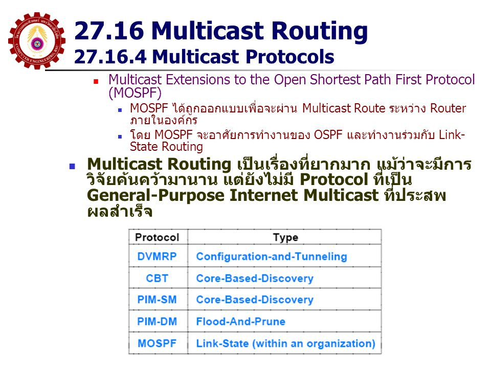 27.16 Multicast Routing 27.16.4 Multicast Protocols Multicast Extensions to the Open Shortest Path First Protocol (MOSPF) MOSPF ได้ถูกออกแบบเพื่อจะผ่า