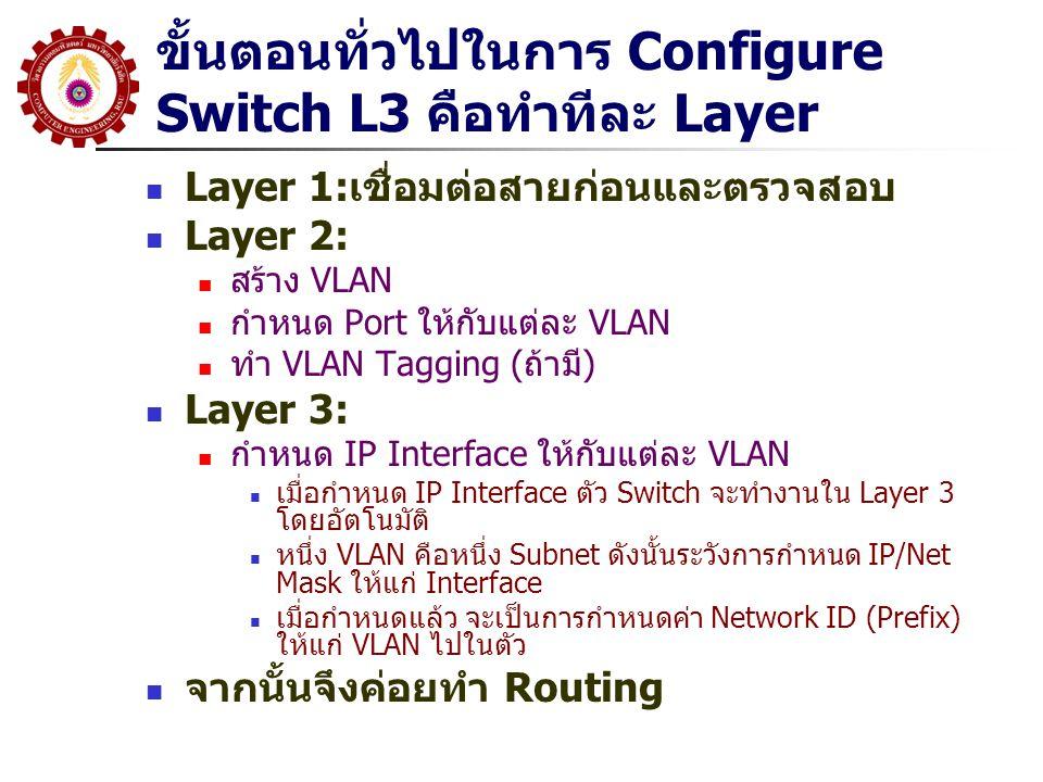 ขั้นตอนทั่วไปในการ Configure Switch L3 คือทำทีละ Layer Layer 1:เชื่อมต่อสายก่อนและตรวจสอบ Layer 2: สร้าง VLAN กำหนด Port ให้กับแต่ละ VLAN ทำ VLAN Tagging (ถ้ามี) Layer 3: กำหนด IP Interface ให้กับแต่ละ VLAN เมื่อกำหนด IP Interface ตัว Switch จะทำงานใน Layer 3 โดยอัตโนมัติ หนึ่ง VLAN คือหนึ่ง Subnet ดังนั้นระวังการกำหนด IP/Net Mask ให้แก่ Interface เมื่อกำหนดแล้ว จะเป็นการกำหนดค่า Network ID (Prefix) ให้แก่ VLAN ไปในตัว จากนั้นจึงค่อยทำ Routing