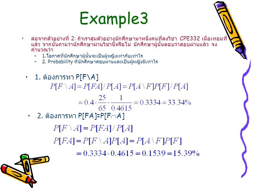Example3 ต่อจากตัวอย่างที่ 2: ถ้าเราสุ่มตัวอย่างนักศึกษามาหนึ่งคนที่ลงวิชา CPE332 เมื่อเทอมที่ แล้ว จากนั้นถามว่านักศึกษาผ่านวิชานี้หรือไม่ นักศึกษาผู้นั้นตอบว่าสอบผ่านแล้ว จง คำนวณว่า –1.