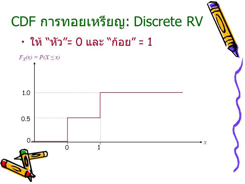 CDF การทอยเหรียญ: Discrete RV ให้ หัว = 0 และ ก้อย = 1 x F X (x) = P(X ≤ x) 0 1 0 0.5 1.0