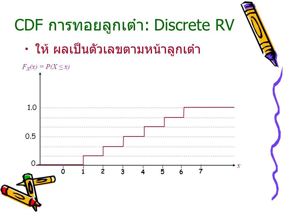 CDF การทอยลูกเต๋า: Discrete RV ให้ ผลเป็นตัวเลขตามหน้าลูกเต๋า x F X (x) = P(X ≤ x) 0 0 0.5 1.0 1234567