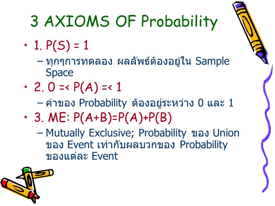 3 AXIOMS OF Probability 1. P(S) = 1 –ทุกๆการทดลอง ผลลัพธ์ต้องอยู่ใน Sample Space 2. 0 =< P(A) =< 1 –ค่าของ Probability ต้องอยู่ระหว่าง 0 และ 1 3. ME:
