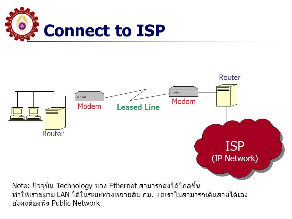 Connect to ISP ISP (IP Network) ISP (IP Network) Router Modem Router Leased Line Note: ปัจจุบัน Technology ของ Ethernet สามารถส่งได้ไกลขึ้น ทำให้เราขยาย LAN ได้ในระยะทางหลายสิบ กม.