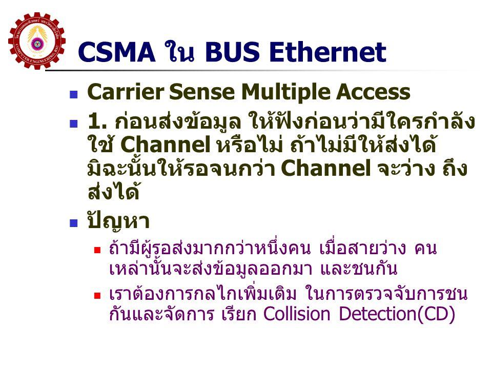 CSMA ใน BUS Ethernet Carrier Sense Multiple Access 1. ก่อนส่งข้อมูล ให้ฟังก่อนว่ามีใครกำลัง ใช้ Channel หรือไม่ ถ้าไม่มีให้ส่งได้ มิฉะนั้นให้รอจนกว่า