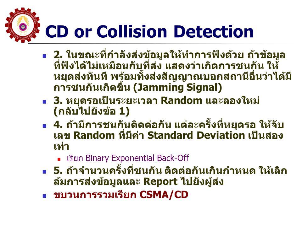 CD or Collision Detection 2. ในขณะที่กำลังส่งข้อมูลให้ทำการฟังด้วย ถ้าข้อมูล ที่ฟังได้ไม่เหมือนกับที่ส่ง แสดงว่าเกิดการชนกัน ให้ หยุดส่งทันที พร้อมทั้