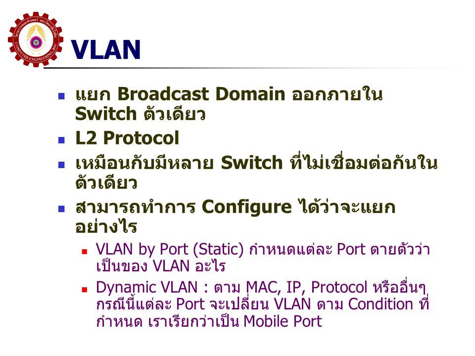 VLAN แยก Broadcast Domain ออกภายใน Switch ตัวเดียว L2 Protocol เหมือนกับมีหลาย Switch ที่ไม่เชื่อมต่อกันใน ตัวเดียว สามารถทำการ Configure ได้ว่าจะแยก อย่างไร VLAN by Port (Static) กำหนดแต่ละ Port ตายตัวว่า เป็นของ VLAN อะไร Dynamic VLAN : ตาม MAC, IP, Protocol หรืออื่นๆ กรณีนี้แต่ละ Port จะเปลี่ยน VLAN ตาม Condition ที่ กำหนด เราเรียกว่าเป็น Mobile Port