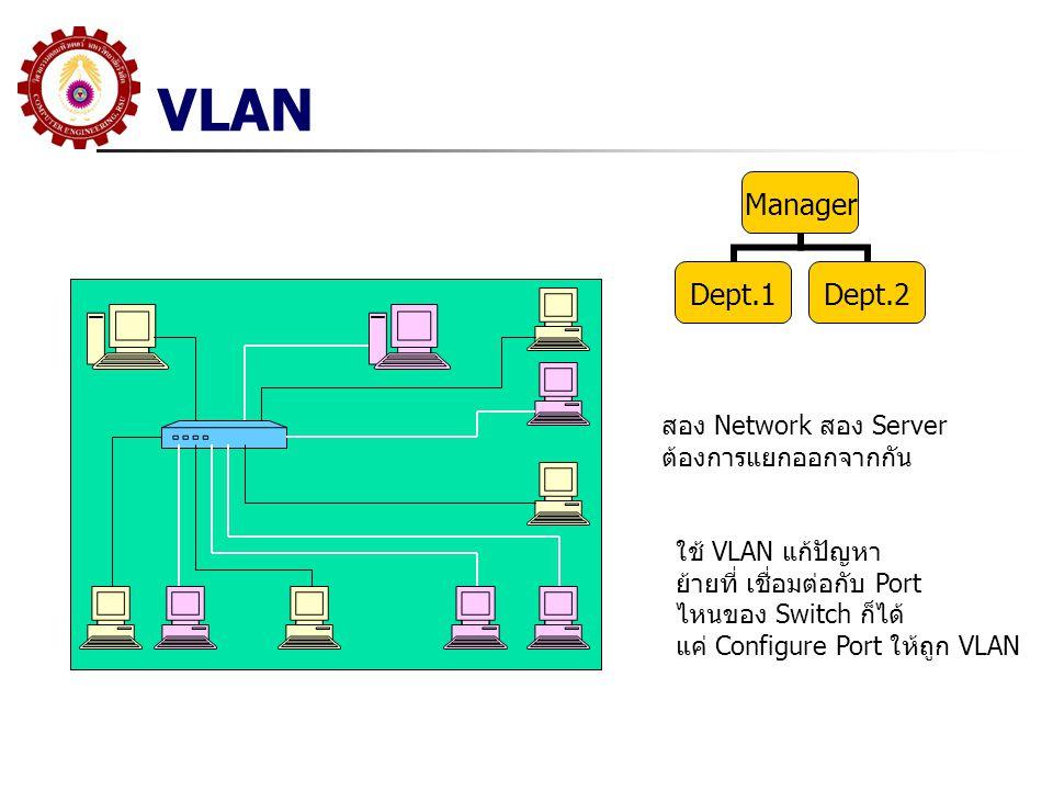 VLAN สอง Network สอง Server ต้องการแยกออกจากกัน Manager Dept.1Dept.2 ใช้ VLAN แก้ปัญหา ย้ายที่ เชื่อมต่อกับ Port ไหนของ Switch ก็ได้ แค่ Configure Por