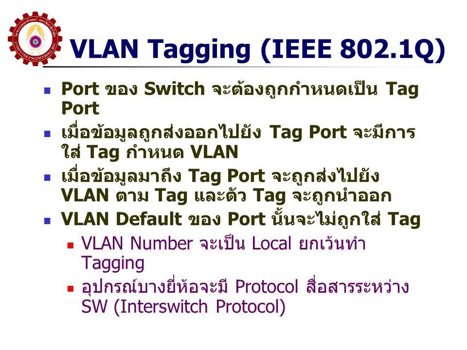 VLAN Tagging (IEEE 802.1Q) Port ของ Switch จะต้องถูกกำหนดเป็น Tag Port เมื่อข้อมูลถูกส่งออกไปยัง Tag Port จะมีการ ใส่ Tag กำหนด VLAN เมื่อข้อมูลมาถึง