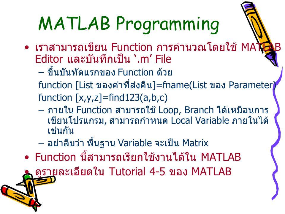 MATLAB Programming เราสามารถเขียน Function การคำนวณโดยใช้ MATLAB Editor และบันทึกเป็น '.m' File –ขึ้นบันทัดแรกของ Function ด้วย function [List ของค่าท