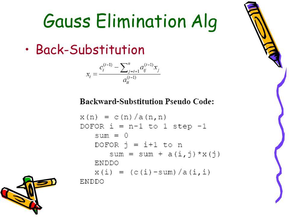 Gauss Elimination Alg Back-Substitution