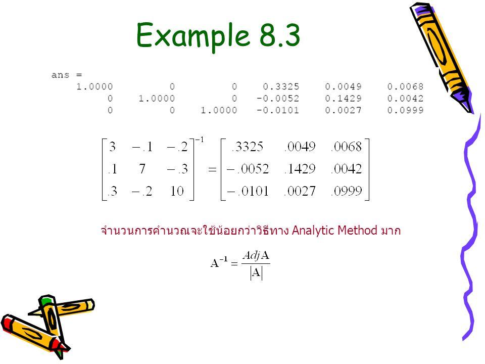 จำนวนการคำนวณจะใช้น้อยกว่าวิธีทาง Analytic Method มาก