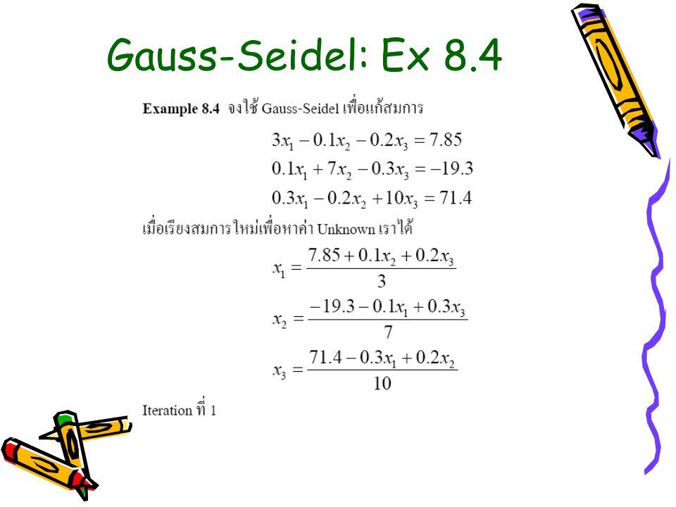 Gauss-Seidel: Ex 8.4