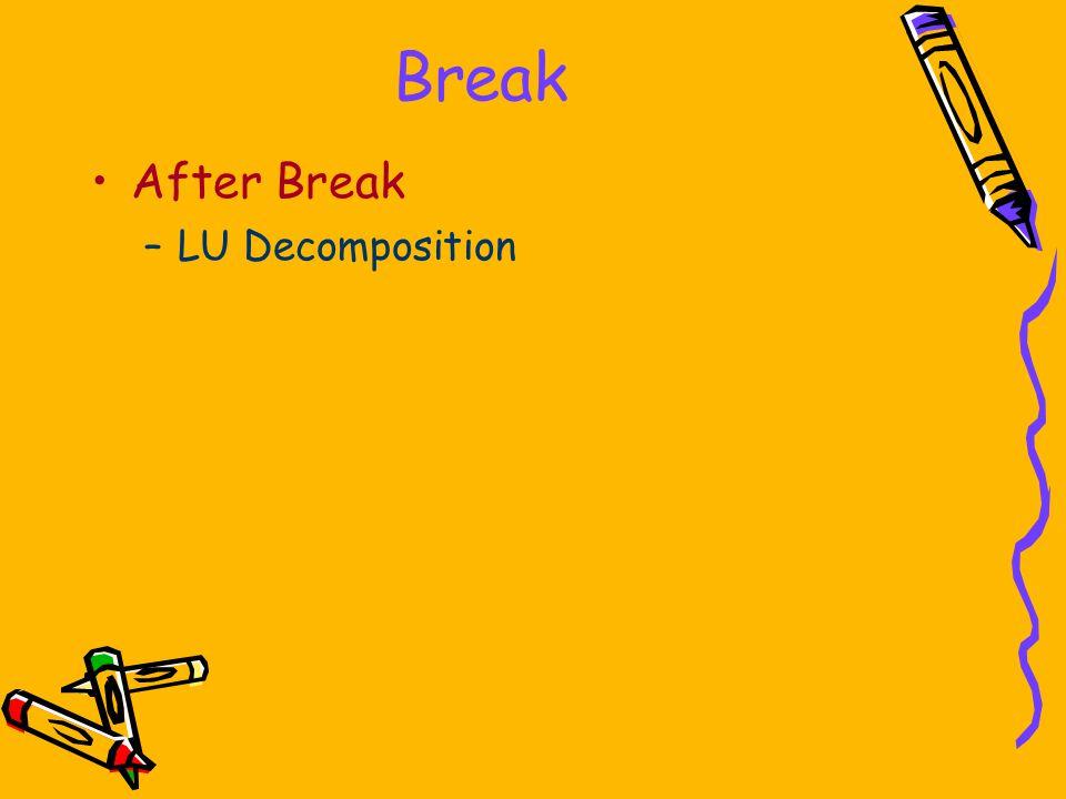 Break After Break –LU Decomposition