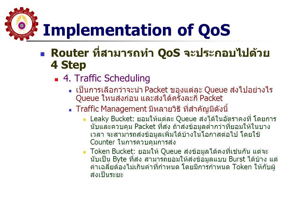 Implementation of QoS Router ที่สามารถทำ QoS จะประกอบไปด้วย 4 Step 4. Traffic Scheduling เป็นการเลือกว่าจะนำ Packet ของแต่ละ Queue ส่งไปอย่างไร Queue