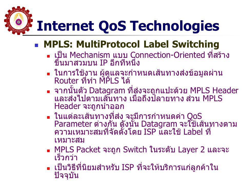 Internet QoS Technologies MPLS: MultiProtocol Label Switching เป็น Mechanism แบบ Connection-Oriented ที่สร้าง ขึ้นมาสวมบน IP อีกทีหนึ่ง ในการใช้งาน ผู