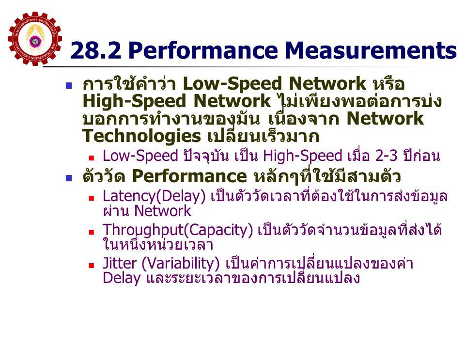 28.2 Performance Measurements การใช้คำว่า Low-Speed Network หรือ High-Speed Network ไม่เพียงพอต่อการบ่ง บอกการทำงานของมัน เนื่องจาก Network Technologi