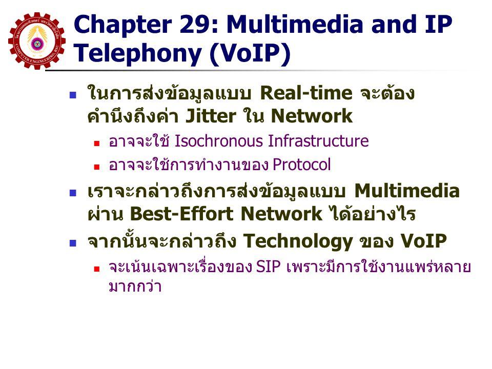 Chapter 29: Multimedia and IP Telephony (VoIP) ในการส่งข้อมูลแบบ Real-time จะต้อง คำนึงถึงค่า Jitter ใน Network อาจจะใช้ Isochronous Infrastructure อา