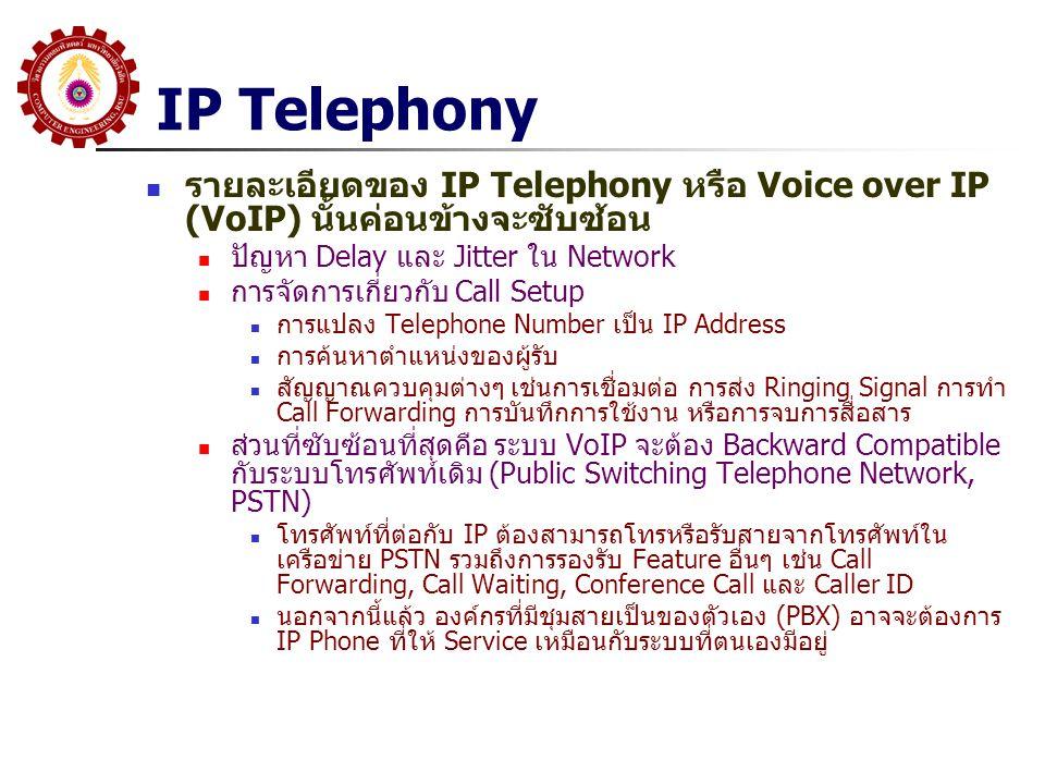 IP Telephony รายละเอียดของ IP Telephony หรือ Voice over IP (VoIP) นั้นค่อนข้างจะซับซ้อน ปัญหา Delay และ Jitter ใน Network การจัดการเกี่ยวกับ Call Setu