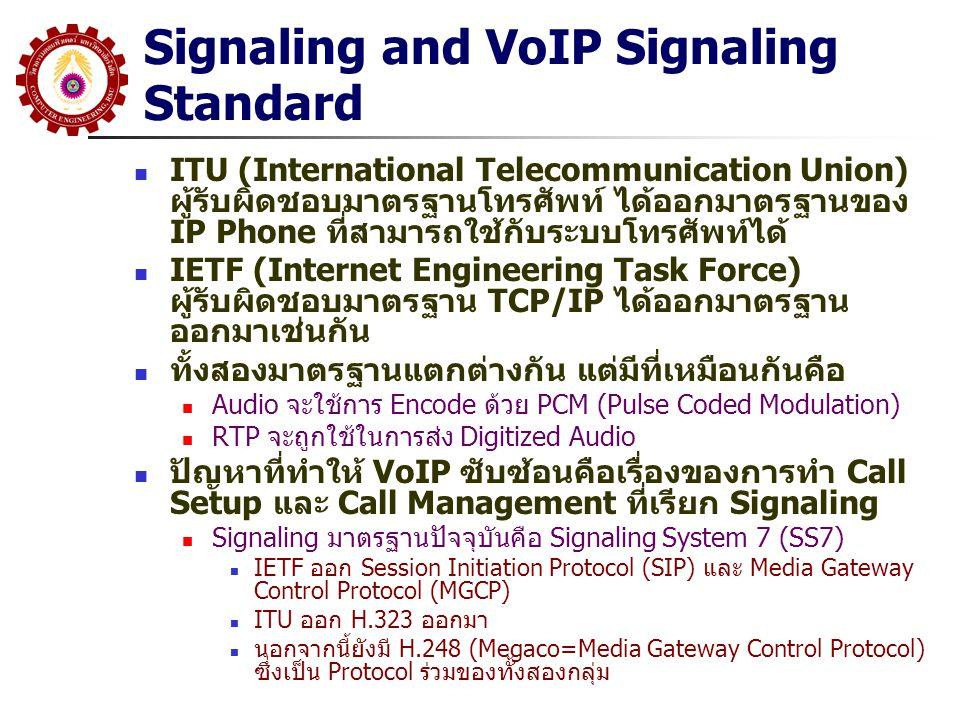 Signaling and VoIP Signaling Standard ITU (International Telecommunication Union) ผู้รับผิดชอบมาตรฐานโทรศัพท์ ได้ออกมาตรฐานของ IP Phone ที่สามารถใช้กั