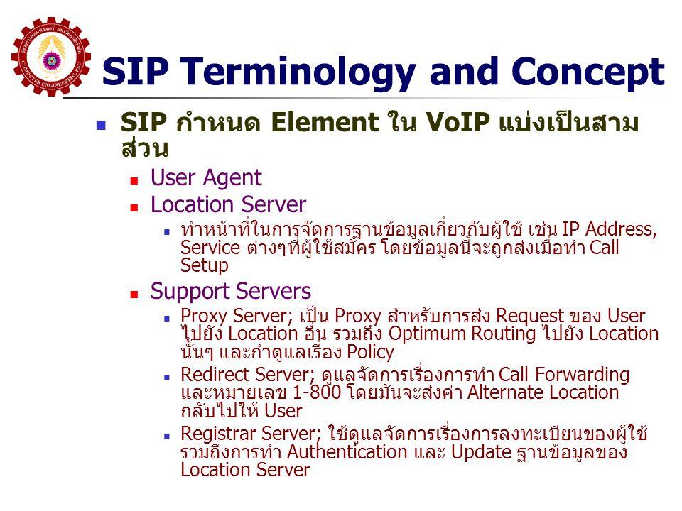 SIP Terminology and Concept SIP กำหนด Element ใน VoIP แบ่งเป็นสาม ส่วน User Agent Location Server ทำหน้าที่ในการจัดการฐานข้อมูลเกี่ยวกับผู้ใช้ เช่น IP