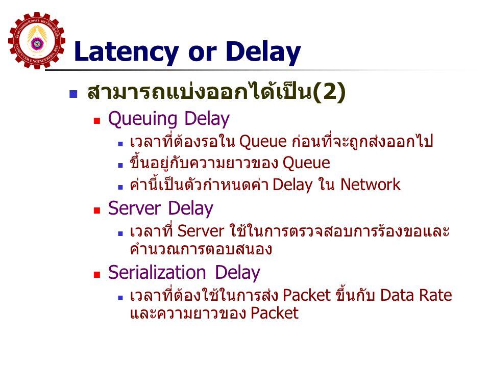 Latency or Delay สามารถแบ่งออกได้เป็น(2) Queuing Delay เวลาที่ต้องรอใน Queue ก่อนที่จะถูกส่งออกไป ขึ้นอยู่กับความยาวของ Queue ค่านี้เป็นตัวกำหนดค่า De