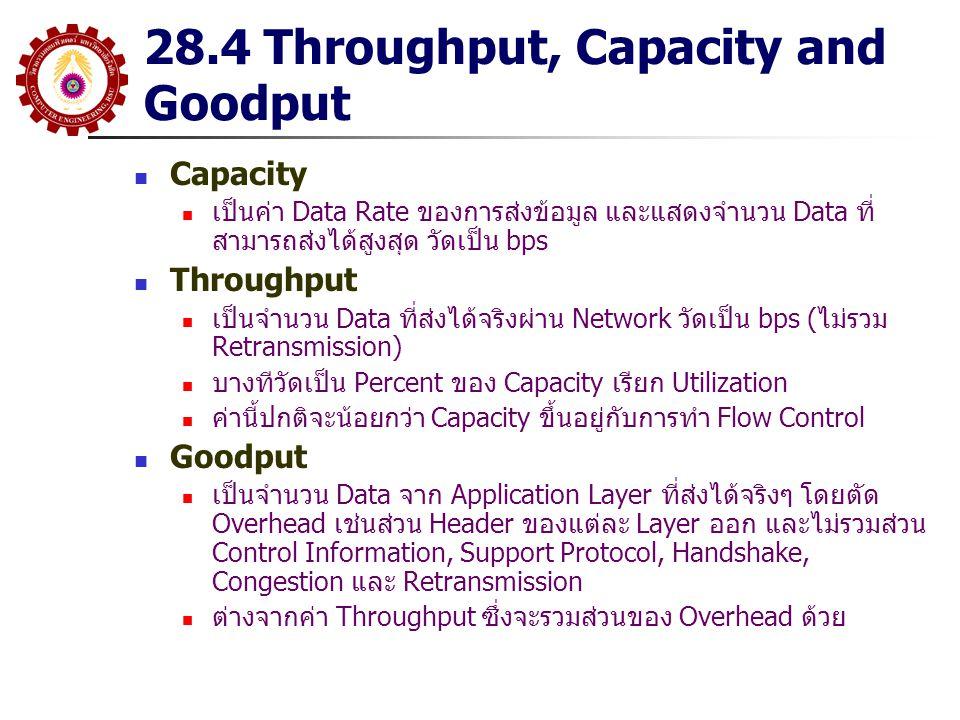 28.4 Throughput, Capacity and Goodput Capacity เป็นค่า Data Rate ของการส่งข้อมูล และแสดงจำนวน Data ที่ สามารถส่งได้สูงสุด วัดเป็น bps Throughput เป็นจ
