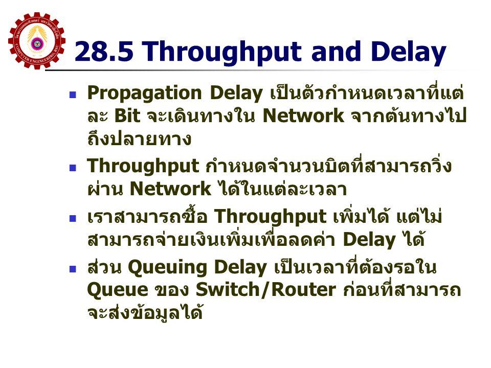 28.5 Throughput and Delay Propagation Delay เป็นตัวกำหนดเวลาที่แต่ ละ Bit จะเดินทางใน Network จากต้นทางไป ถึงปลายทาง Throughput กำหนดจำนวนบิตที่สามารถ