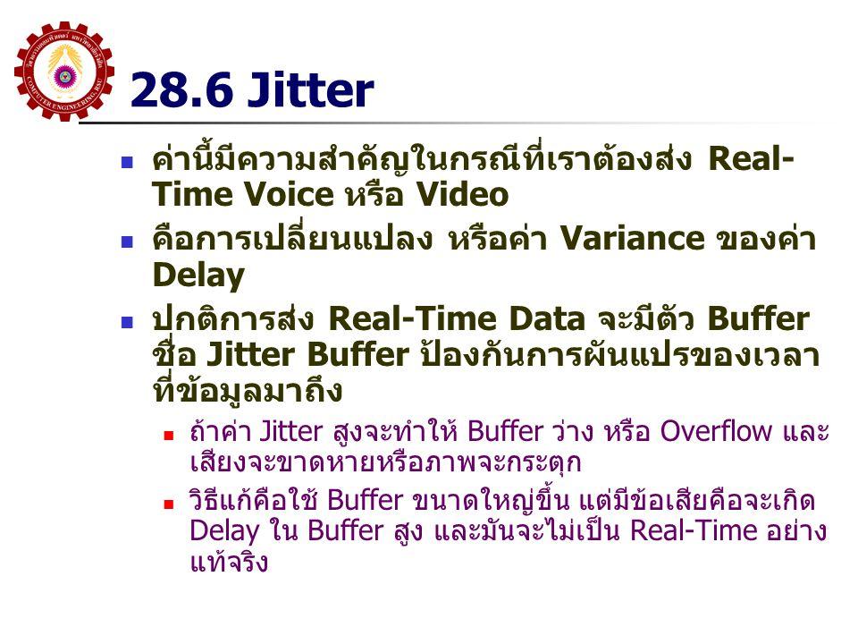 28.6 Jitter ค่านี้มีความสำคัญในกรณีที่เราต้องส่ง Real- Time Voice หรือ Video คือการเปลี่ยนแปลง หรือค่า Variance ของค่า Delay ปกติการส่ง Real-Time Data