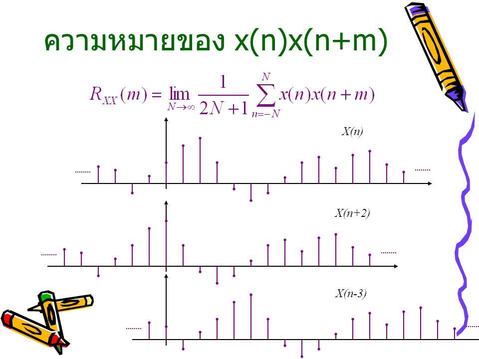 ความหมายของ x(n)x(n+m) X(n) X(n+2) X(n-3)