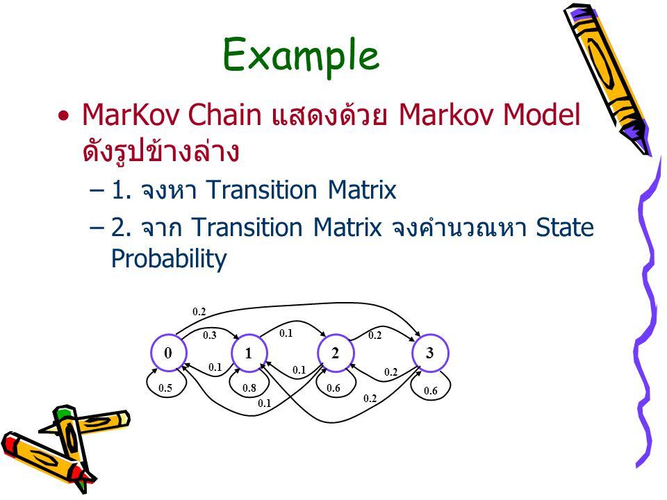 Example MarKov Chain แสดงด้วย Markov Model ดังรูปข้างล่าง –1. จงหา Transition Matrix –2. จาก Transition Matrix จงคำนวณหา State Probability 0 123 0.50.