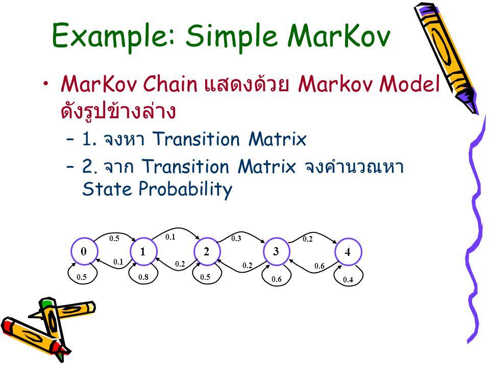 Example: Simple MarKov MarKov Chain แสดงด้วย Markov Model ดังรูปข้างล่าง –1. จงหา Transition Matrix –2. จาก Transition Matrix จงคำนวณหา State Probabil