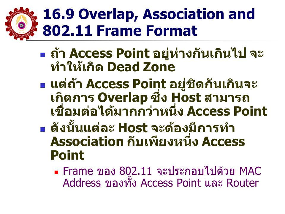 16.9 Overlap, Association and 802.11 Frame Format ถ้า Access Point อยู่ห่างกันเกินไป จะ ทำให้เกิด Dead Zone แต่ถ้า Access Point อยู่ชิดกันเกินจะ เกิดก