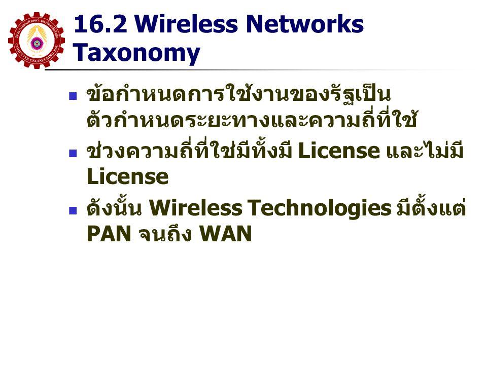 16.2 Wireless Networks Taxonomy ข้อกำหนดการใช้งานของรัฐเป็น ตัวกำหนดระยะทางและความถี่ที่ใช้ ช่วงความถี่ที่ใช่มีทั้งมี License และไม่มี License ดังนั้น
