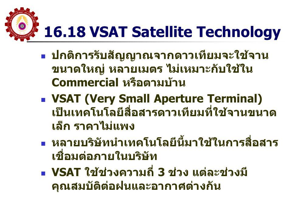 16.18 VSAT Satellite Technology ปกติการรับสัญญาณจากดาวเทียมจะใช้จาน ขนาดใหญ่ หลายเมตร ไม่เหมาะกับใช้ใน Commercial หรือตามบ้าน VSAT (Very Small Apertur
