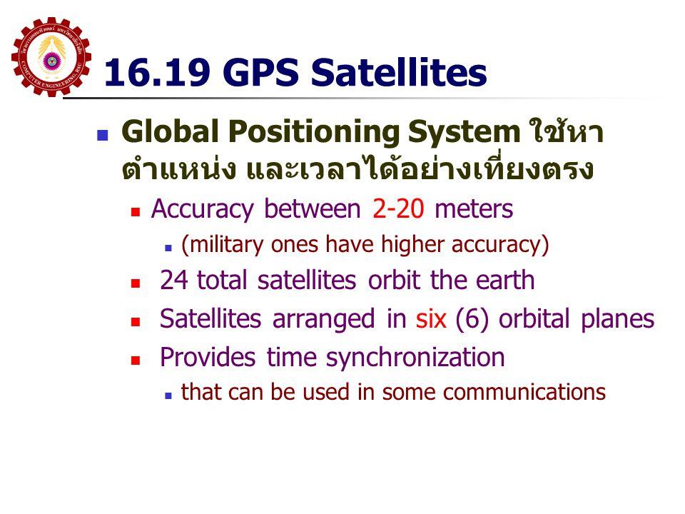 16.19 GPS Satellites Global Positioning System ใช้หา ตำแหน่ง และเวลาได้อย่างเที่ยงตรง Accuracy between 2-20 meters (military ones have higher accuracy