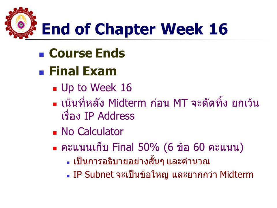 End of Chapter Week 16 Course Ends Final Exam Up to Week 16 เน้นที่หลัง Midterm ก่อน MT จะตัดทิ้ง ยกเว้น เรื่อง IP Address No Calculator คะแนนเก็บ Fin
