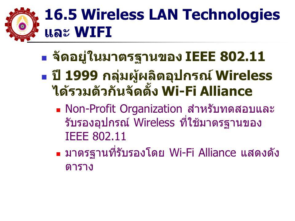 16.5 Wireless LAN Technologies และ WIFI จัดอยู่ในมาตรฐานของ IEEE 802.11 ปี 1999 กลุ่มผู้ผลิตอุปกรณ์ Wireless ได้รวมตัวกันจัดตั้ง Wi-Fi Alliance Non-Pr